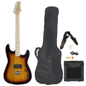 Full Size Electric Guitar With AMP, Case And Accessories Pack Beginner Vintage Sunburst