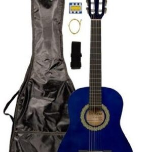 Blue Student Beginner Classical Nylon String Guitar And Carrying Bag