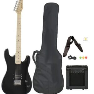 Full Size Black Electric Guitar With AMP Case And Accessories Pack